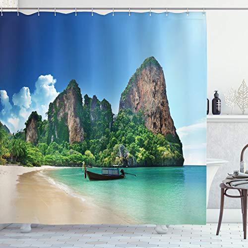 ABAKUHAUS Tropisch Duschvorhang, Thailand Fels Cliff Beach, Wasser Blickdicht inkl.12 Ringe Langhaltig Bakterie & Schimmel Resistent, 175 x 240 cm, Blau Grün