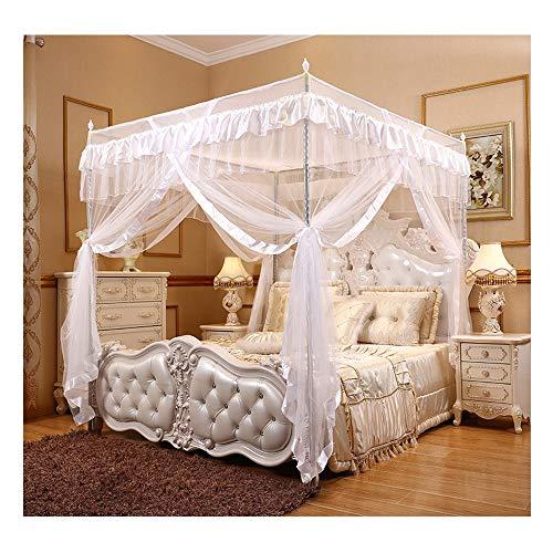 DUXY Moskitonetz - Luxus-4-Eck-Baldachin für Betten, Baldachin-Vorhänge, betthimmel für Kinder Kleinkinder Krippe, Anti-Moskito-Schlafzimmer-Dekor (für Betten mit 120 x 200 cm geeignet),White