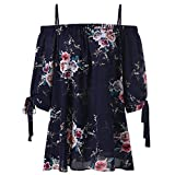 ZAFUL Women Plus Size Floral Classic Straps Cold Shoulder Regular Sleeve Blouse Shirt Top(Purplish Blue 3XL)