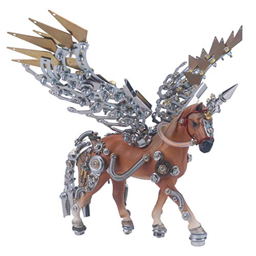Haoun 3D Metal Puzzle for Kids and Adults, DIY Assembly Horse with Horseshoe Animal Model Stainless Steel Building Kit Jigsaw Puzzle Brain Teaser Educational Toy, Desk Ornament - Without Base
