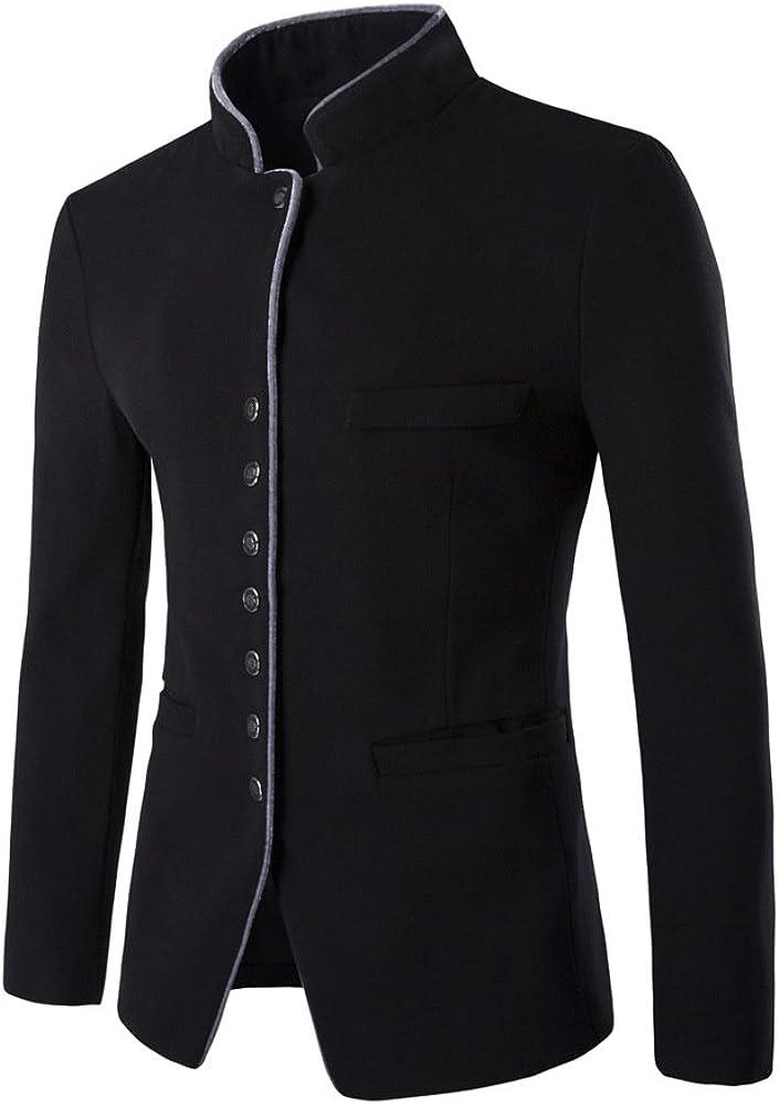 Men's Casual Business Blazer Solid Slim Fit Mandarin Collar Coat Single Breasted Fall Winter Woolen Outwear