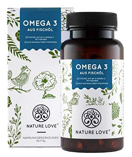 NATURE LOVE® Omega 3 Fischöl - 120 Kapseln - Hochdosiert mit 80% Omega 3-Fettsäuren (EPA und DHA) je Kapsel - Besonders hohe Reinheit - Aus nachhaltigem Fischfang - Jede Charge laborgeprüft