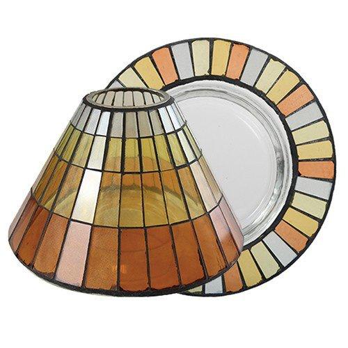 YANKEE CANDLE 1521333 Warm Summer Night Mosaic Paralume e Piatto Grande, Multicolore, 19.6x18.7x12.1 cm
