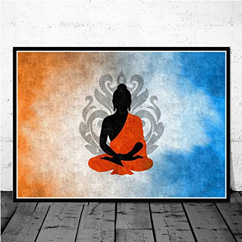 yaoxingfu No Frame Buddhism Buddha Statue Poster Mural Picture Poster and Print Room Painting Pintura al óleo decoración del hogar 60x90cm