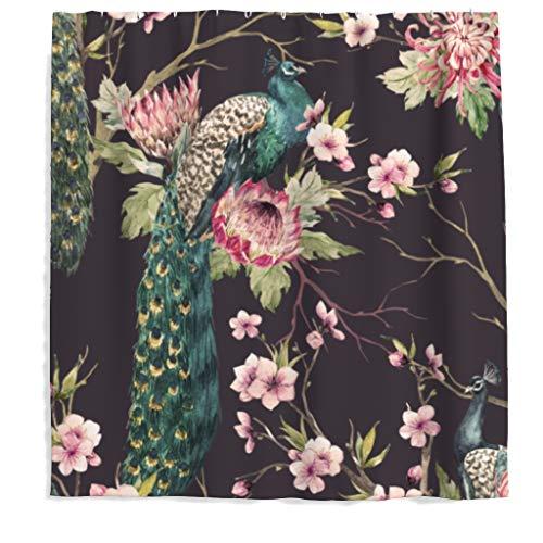 Vogel Duschvorhang Antischimmel Wasserdicht Polyester Stoff Pfau Blumen Badewanne Vorhang mit Haken 180x200cm