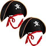 2 Pieces Pirate Hat Skull Print Pirate Captain Costume Cap Black Outfit Accessory for Caribbean Fancy Dress