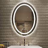 Amorho 60x80cm Oval Espejo Baño Espejo de Pared Espejo Colgante Dormitorio...