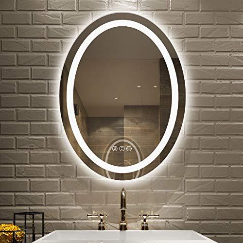 Amorho Specchio da Bagno con Controluce LED,Ovale 600x800mm Specchio da Parete,con Interruttore...