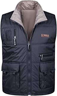 XFentech Mens Winter Gilet - Cotton Padded Vest Thicken Warm Casual Zipper Sleeveless Coat