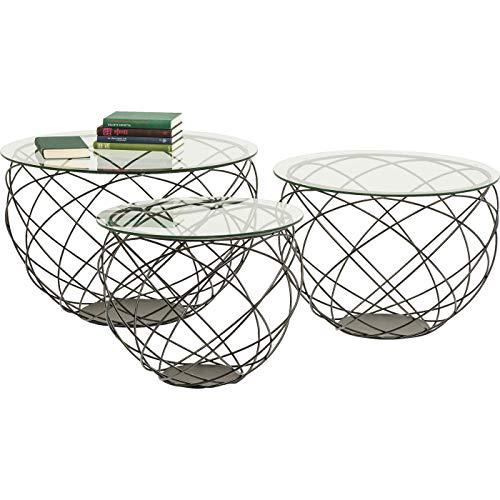 Kare Design Couchtische Wire Grid 3er Set, runder, moderner Design Beistelltisch, Glas, Schwarz (H/B/T) 47x70x70cm