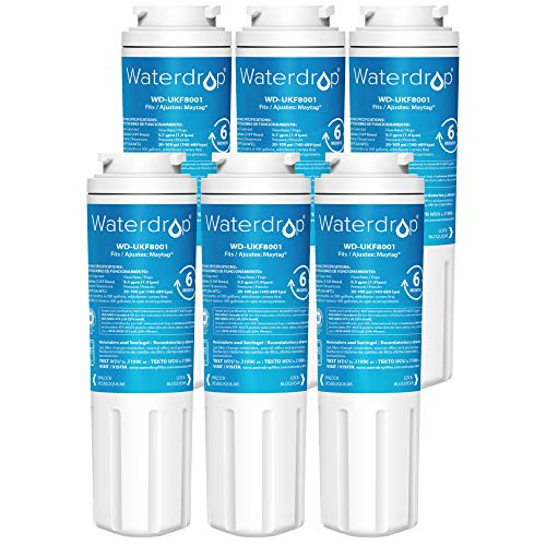 Waterdrop UKF8001 Refrigerator Water Filter, Compatible with Whirlpool UKF8001AXX-750, Maytag UKF8001P, UKF8001AXX-200, 4396395, 469006, EveryDrop Filter 4, Puriclean II, EDR4RXD1, Pack of 6