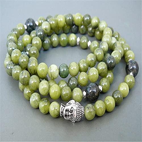 YANGYUE 6Mm Hierba Verde Jade Plata Cabeza de Buda 108 Cuentas Mala Pulsera Clásico Elegante Chakra Healing Cuff Muñeca Hecha a Mano