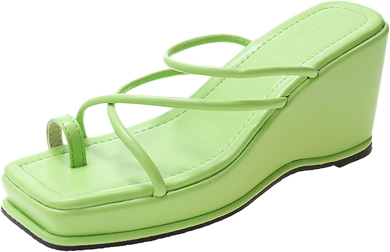 AITSAON Women's Platform and Wedge Sandals Casual Summer Heels Open Toe Sandals Summer Slides Punk Slippers