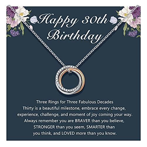 30th Birthday Gifts for Women, Silver Three 3 Rings Happy Birthday Necklace for Her, 30 Year Old Decades Jewelry Gift Ideas for Women Best Friends Sister Daughter Female