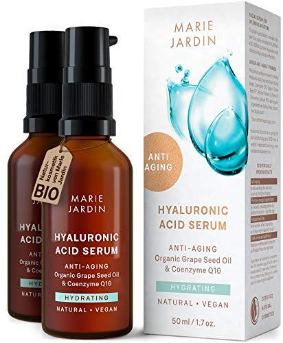 Hyaluron Serum mit Vitamin C und Q10, hochdosiert, 100 ml, mit geprüftem 5-fach Anti-Aging-Komplex, Basis für Make-up, Doppelpackung 2x50ml, zertifizierte vegane BIO Naturkosmetik von Marie Jardin
