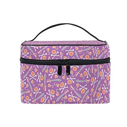 Patrón pirata púrpura cosmético bolsa viaje maquillaje tren casos organizador almacenamiento