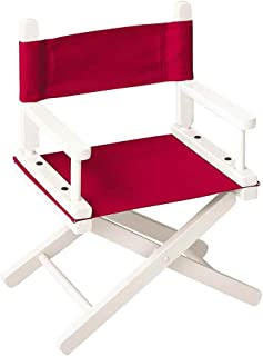Gold Medal Chairs 10 in. Child's Director's Chair w White Frame & Red Canvas