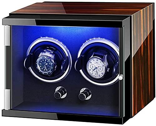 PLMOKN Boîte de remontée à Double Montre pour Une Montre Automatique avec des lumières colorées de Montre réglable oreillers Meubles Silencieux Exquis/a (Color : Brown, Size : 27 X 19 X 20Cm)