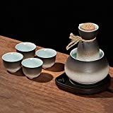 AMYZ Juego de Tazas de Sake japonés Cerámica de Porcelana Tazas de cerámica Tradicionales Copas de Vino artesanales Juego de Sake japonés con 1 Botella para Servir de Sake y 4 Tazas de Sake,7PCS,