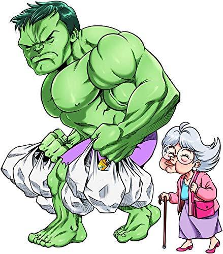 Okiwoki T-Shirt Noir MCU parodique l'incroyable Hulk : Super Héros du Quotidien - Le Héros des Courses (Parodie MCU)