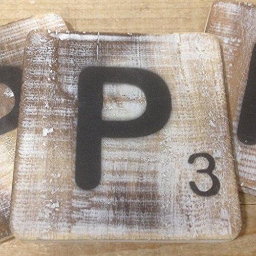 Holzbuchstaben, Deko Buchstaben aus Holz, im Scrabble-Look quadratisch Größe ca. 10 cm x 10 cm, Shabby Chic, Balsa Holz, Buchstabe P