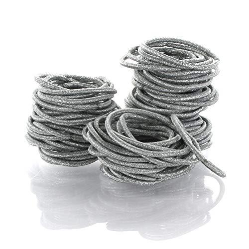 My Lello Hair Elastics Hair Ties, Professional Grade Ponytail Holders - 100 Pack Metallic Silver