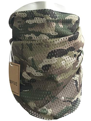 QMFIVE Tactical Camouflage Scarf, Men and Women Multi-purpose Military Headband Style Head Wrap Face Mesh Neckerchief for Combat,Hunting,Climbing,Hiking,Cycling Outdoor activity