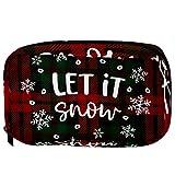 Bolsas cosméticas de Navidad a cuadros con copos de nieve que caen práctica bolsa de viaje Oragniser bolsa de maquillaje para mujeres y niñas