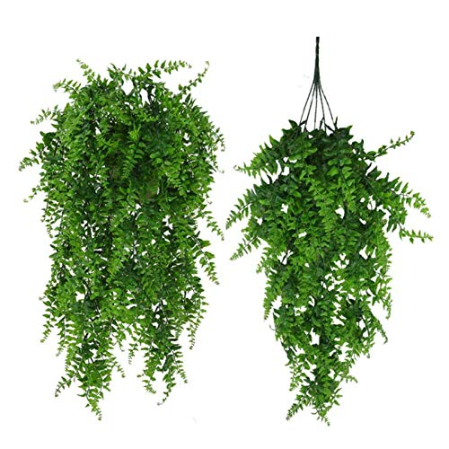 Artificial Plants Hanging Ivy, Artificial Fern Plastic Greenery, Boston Fern Fake Greenery Vine for Wall Hanging Baskets Wedding Garden Decoration (Pack of 2)