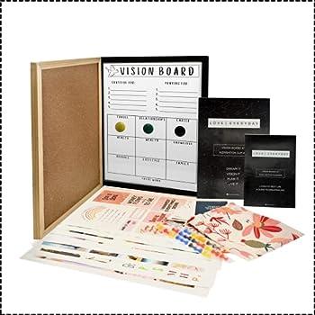 Vision Board Kit & Goal Board with Vision Board Supplies including Write On Dry Erase Vision Board Manifestation Kit for Abundant Dream Life Goal Planner for Women & Adults Gratitude & Prayer Board