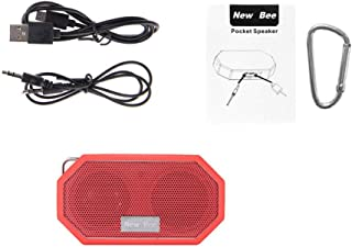 New BEE Portable Mini Wireless Speaker Waterproof Subwoof Shower Outdoor Speaker Hands-Free with Mic for Phone PC(red)
