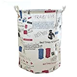 LiChaoWen Cesta de lavandería fluida con asa, redonda impermeable, plegable, cesta circular de algodón, contenedor plegable grande (color: A, tamaño: 35 x 45 cm)