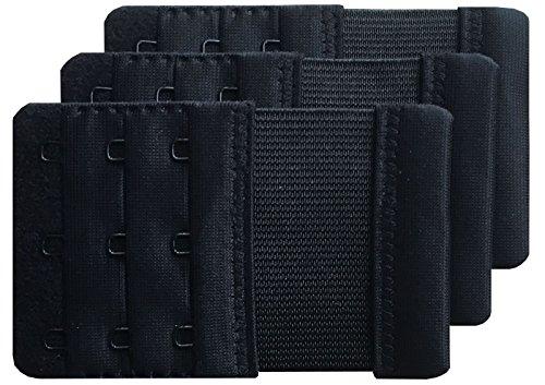 Chanie Femme Lot de 3 Doux Confortables Extensions de soutien-gorge 3 Crochets, 9,4cm x 5,6cm