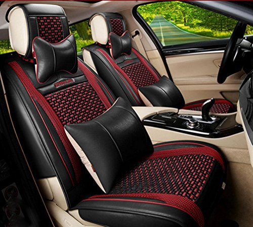 HOMEE@ Summer Ice Silk All-Inclusive Car Seat Sets Of Four Seasons Common Car Seat Cushion Cover , Black,black