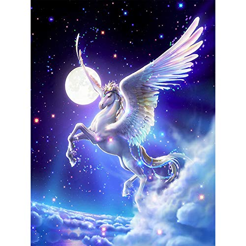 DIY 5D Pegasus Diamond Painting kit, Full Drill Crystal Rhinestone Cross Embroidery Pictures Arts Craft for Christmas Home Wall Decor 20 X25cm