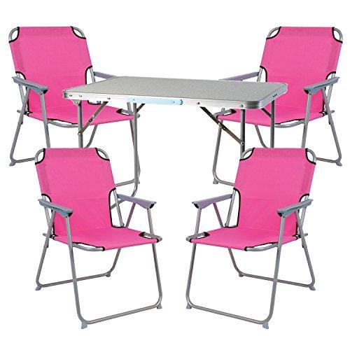 Mojawo Ensemble de Meubles de Camping en Aluminium Camping L70 x B50 x H59 cm 1 x Table de Camping avec poignée + 4 chaises Rose Tissu Oxford