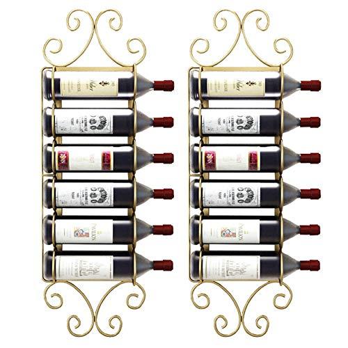 Soporte para vino, soporte de pared de hierro retro, soporte para vino, estante para vino, estante de soporte para el hogar, bares, hoteles y restaurantes (color: 6 botellas doradas)