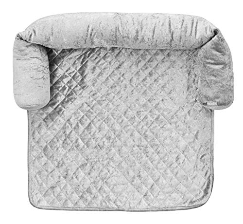 Quilted Diamond Crushed Velvet Sofa Pet Bed Protector with Detachable Filled Bolster sides (Silver Grey, Small)
