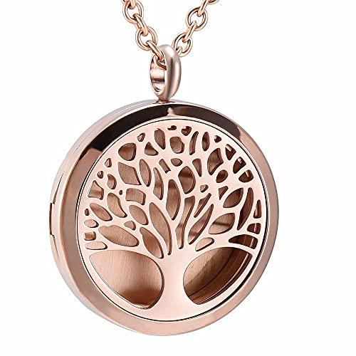 QFV Árbol de la Vida Colgante de Perfume Ambientador conmemorativo Acero Inoxidable Oro Rosa Aromaterapia Difusor de Aceite Esencial fragante