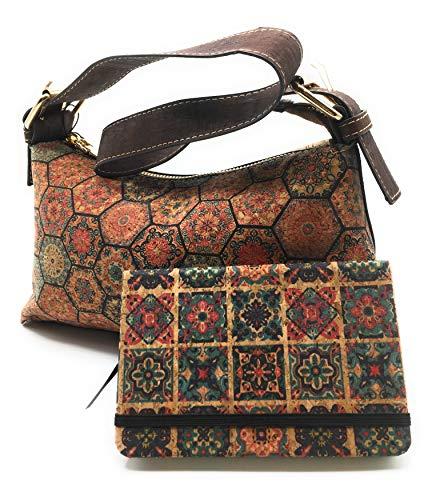 Conjunto de bolso de hombro o mano y libreta de notas para mujer, realizado en corcho.