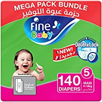 Fine Baby Diapers, DoubleLock Technology , Size 5, Maxi 11–18kg, Mega Pack. 140 diaper count
