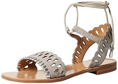 Jack Rogers Women's Ruby Suede Flat Sandal, Dove Grey/Silver, 9 Medium US