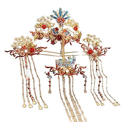 AMY-XCQ Forcina, Copricapo Da Sposa Da Sposa, Corona Di Fenice, Accessori per Capelli Cinesi, Costume Da Bagno, Regalo Di Festa Di Compleanno Della Principessa Regina