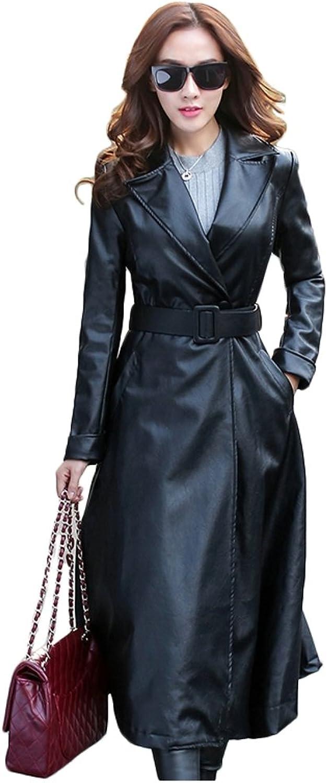Elezay Women's PU Leather Slim Fit Long Coat Maxi Jacket (10, Black&Polyester Lining)