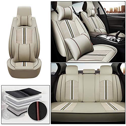 ALLYARD Coprisedile Auto per LAN d Ro Ver Discovery 3/Range Rover/Range Rover Evoque/Sport/Velar 5-Sede PU Pelle Posti Protezioni Coprisedili Auto Interno Seat Cover Set Accessori Beige