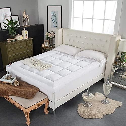 YCQ Colchón Grueso y Suave, tapete Enrollable Plegable y Transpirable, Funda de colchón de Felpa, Almohadilla de colchón Acolchada Antideslizante (Color : White, Tamaño : Twin)