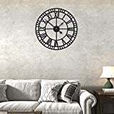Rustic Metal Wall Clock Industrial Hollow Rhombic Large Wall Clock Silent Non-Ticking Battery Operated Vintage Roman Numerals Round Modern Clocks for Living Room Decor