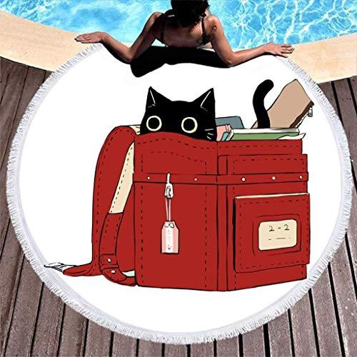 Bolsa de Libros de Gato Negro Vintage, Toalla de Playa Redonda a...