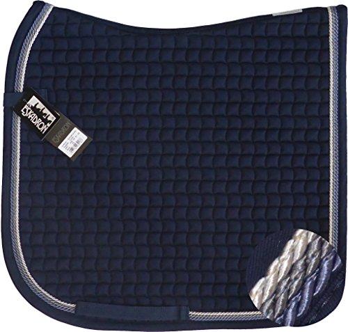 Eskadron Cotton Schabracke Navy, 3fach Kordel Blue,anthrazit,silberfarben, Form:Dressur