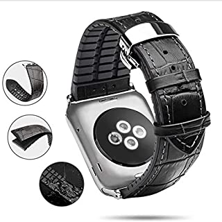 KGYA Watch Band-Top Genuine Leather Watch Band Strap-for iOS IWatch 38,40,42,44mm Replacement Watchband for Men,Women (Black, 42(44) mm) Selection